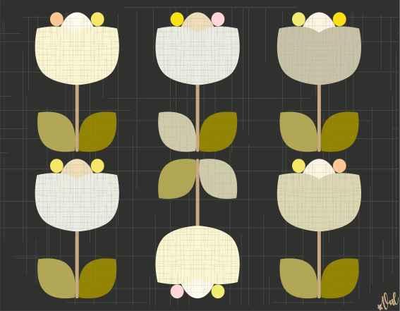 Set de table vintage : Tulipe
